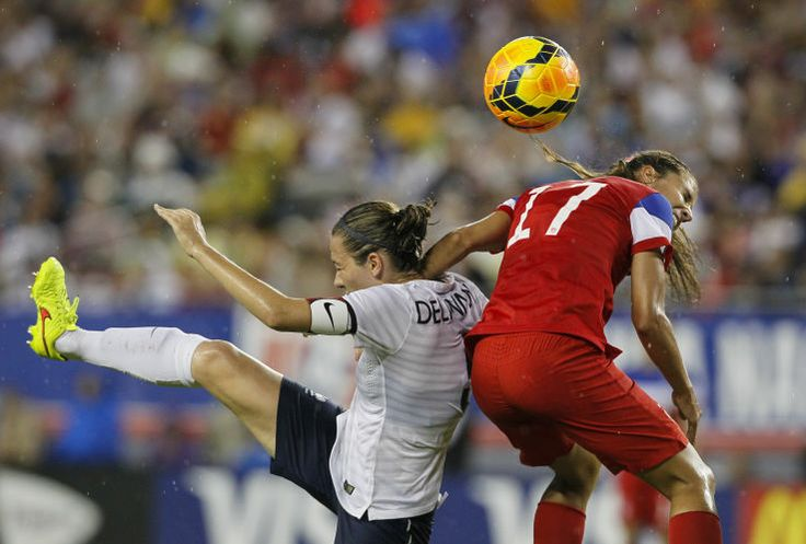 Tobin Heath and Sabrina Delannoy of France, June 14, 2014, Tampa. The United States won 1-0.