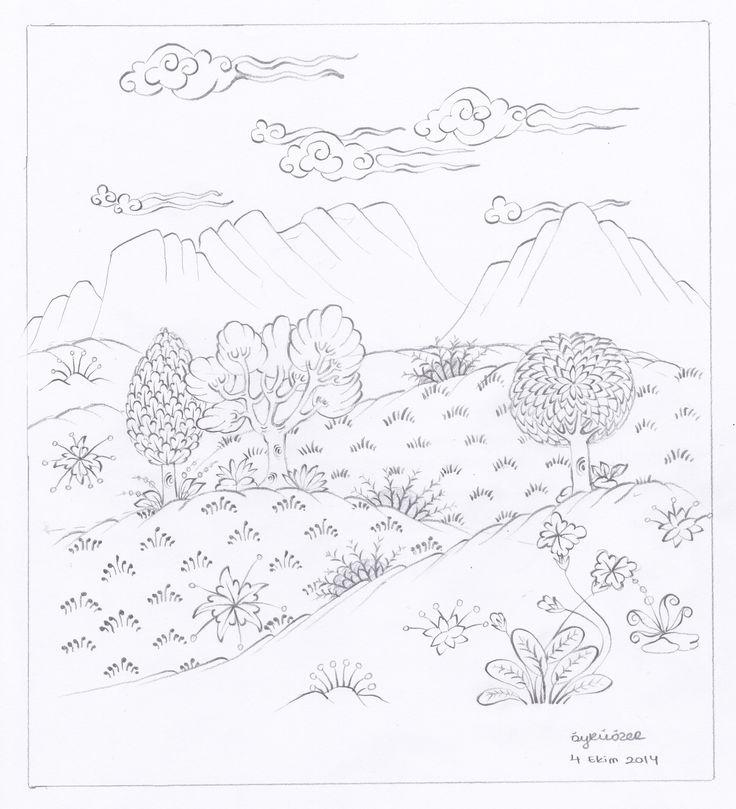 Öykü Özer - karakalem doğa minyatürü çalışması