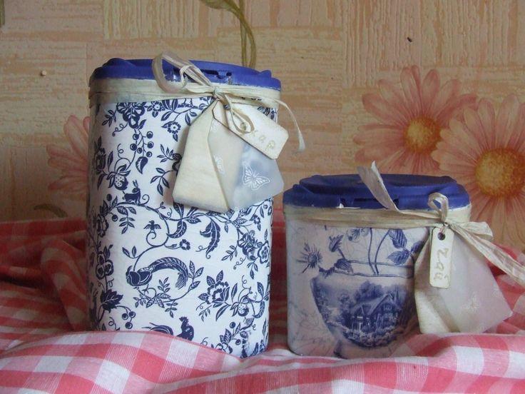 баночки для чая и для сахара - гжель, декупаж