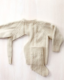 Make Christmas stockings out of a thrift store sweater.