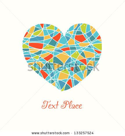 Isolated on white drawn heart. Love image. Cute mosaic heart. Template for cards, prints on the bags, cups, pockets, souvenirs. Beauty element for design - stock vector