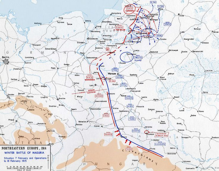 Map of the Battle of the Masurian Lakes - Feb 7-22, 1915