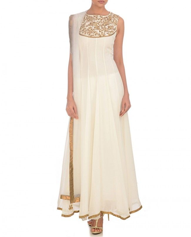 Pristine White Anarkali Suit with Embellished Yoke