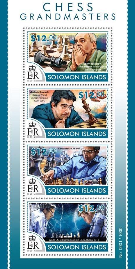 Post stamp Solomon Islands SLM 15315 aChess Grandmasters (Garry Kasparov, Grandmaster, former World Chess Champion, Vladimir Kramnik, Classical World Chess Champion 2000–2006, Viswanathan Anand, Magnus Carlsen)
