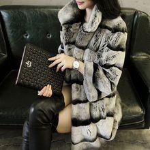 Liyafur nuevo diseñador 80 cm Vintage Natural Rex conejo Chinchilla abrigo de invierno chaqueta larga con cuello de piel para mujeres(China (Mainland))