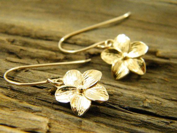 Gold Flower Earrings Dainty Dangle Filled Gift For Her Bridesmaids Elegant