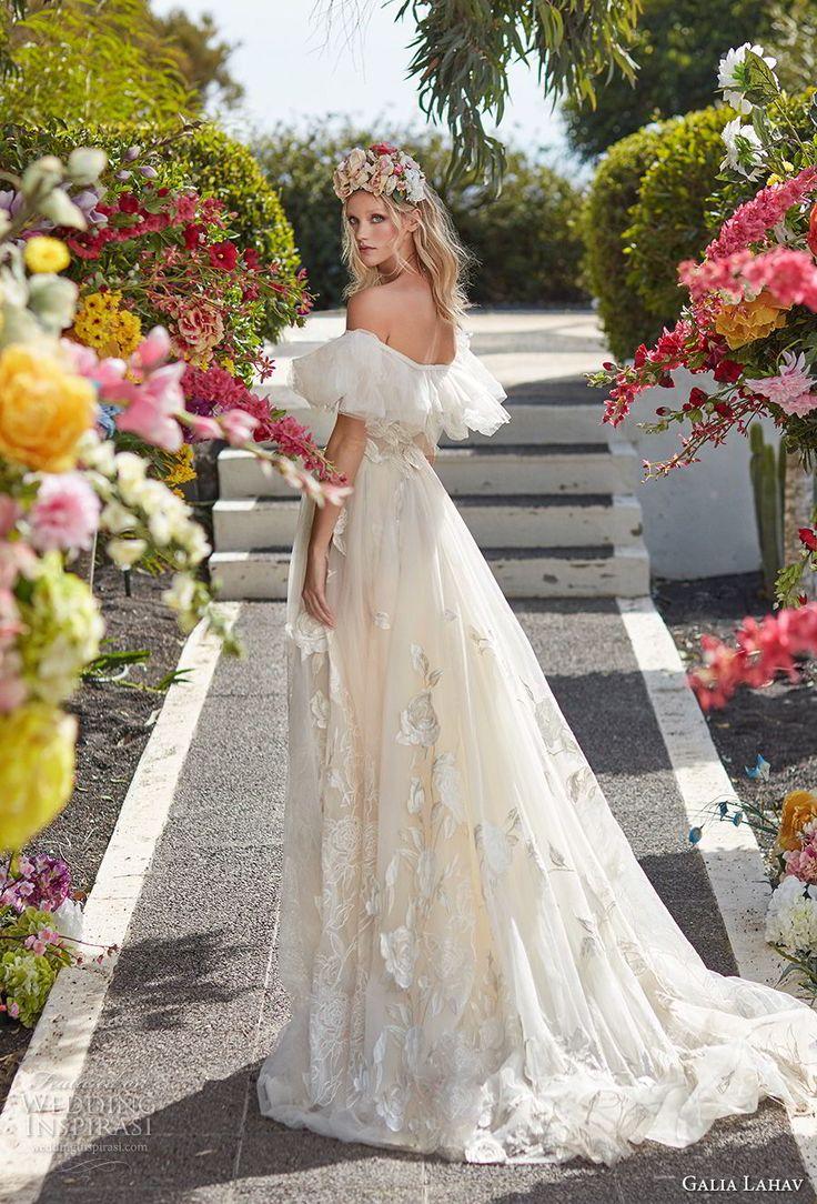galia lahav couture fall 2018 bridal short sleeves off the shoulder full embellishment romantic princess a  line wedding dress sweep train (15) bv -- Galia Lahav Couture Fall 2018 Wedding Dresses