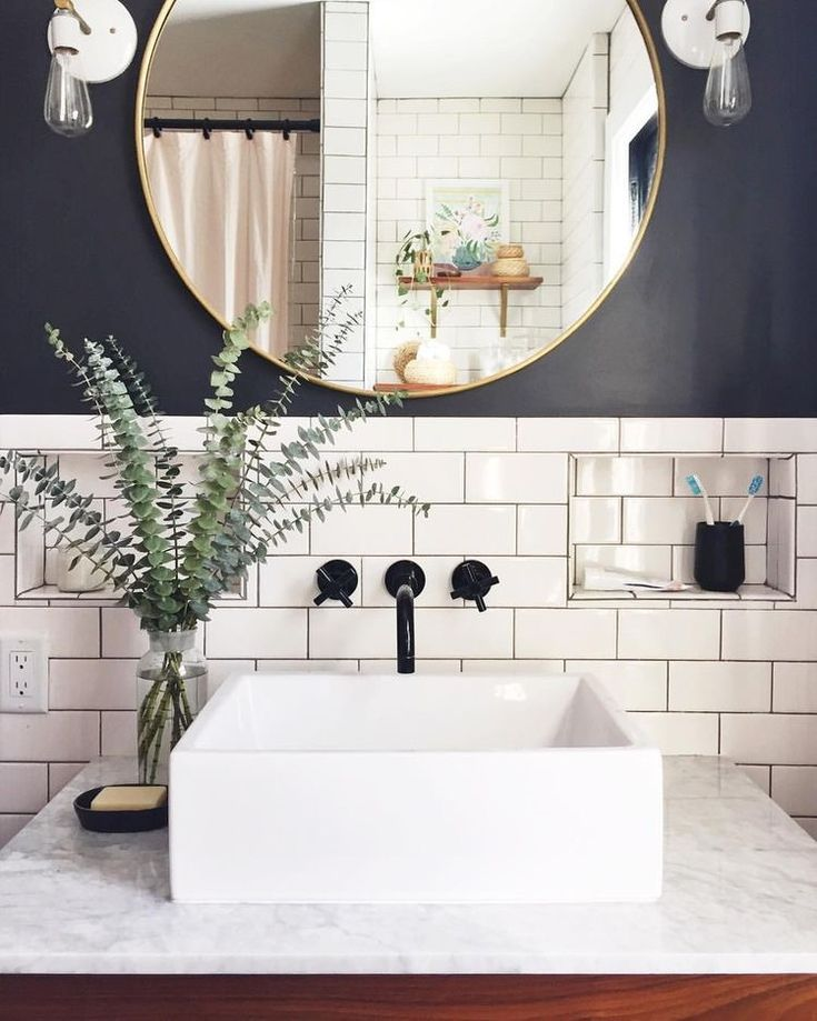 Subway tile bathroom, vessel sink Bath  Powder Rooms File in 2018 - Vessel Sinks Bathroom