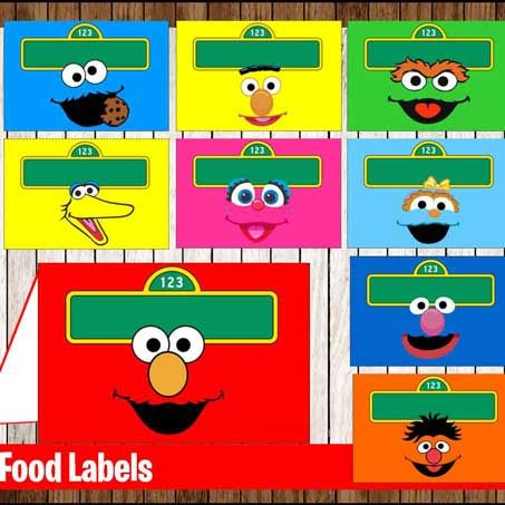 sesame street food tents labels