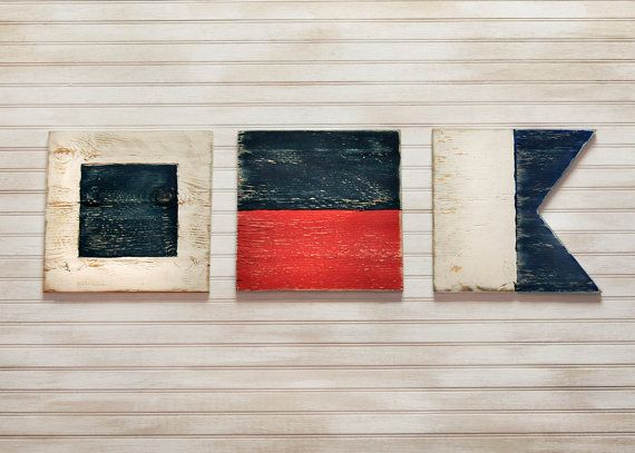 SEA Flag Set Sailing Flags Nautical Flags Wood Sailing Decor 3 pc Set