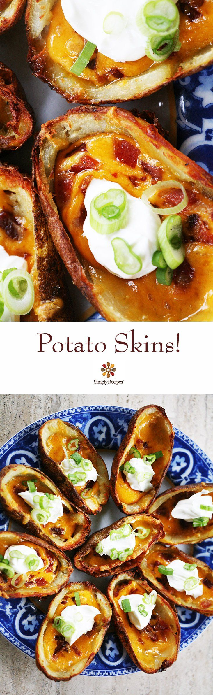 Potato Skins! Crispy cheese potato skins, baked to a crisp, then topped with cheddar cheese, bacon, sour cream and green onions.  #superbowl #gameday ~ SimplyRecipes.com