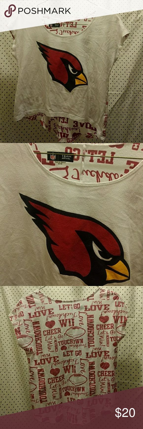 Cardinals NFL team apparel White crop top with a sparkly cardinal! Like new condition. NFL team apparel Tops Crop Tops