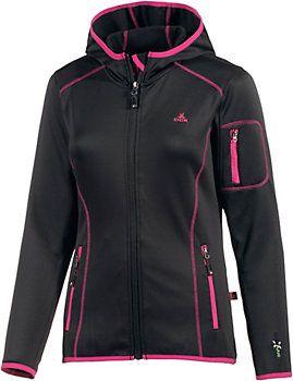 OCK Stretch Fleece Kapuzen-Fleecejacke Damen schwarz im Online Shop von SportScheck kaufen