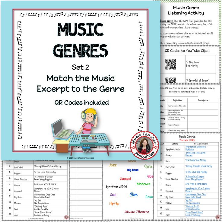 Music Genre's Listening Activity with links AND QR codes!  Great for Middle School music!  ♫ CLICK through to read more or save for later!  ♫