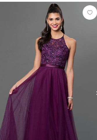 Brand new, size 2 full length gown. Tags still on dress. Beautiful eggplant color, with lace bodice.  Strappy back.