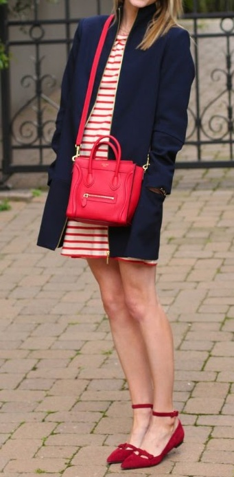 red and white striped dress.  little red ankle flats.  navy jacket