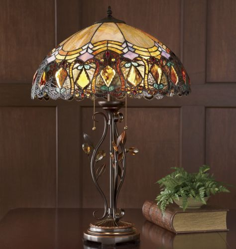 Amber accent stained glass lamp from seventh avenue