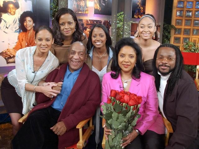 ....a real TV family....The Huxtables featuring Cliff (Bill Cosby), Clair (Phylicia Rashad), Sondra (Sabrina LeBeauf), not shown Denise (Lisa Bonet), Theo (Malcolm - Jamal Warner), Vanessa (Tempestt Bledsoe), Rudy (Keshia Knight Pulliam), Olivia (Raven-Symone') #television