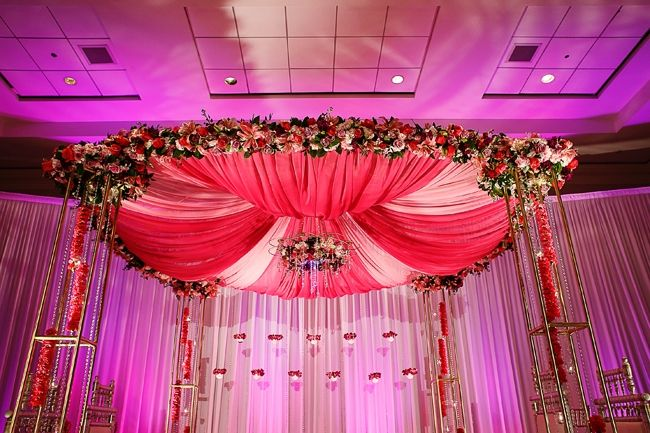 indian-wedding-pink-fabric-floral-mandap #indianwedding