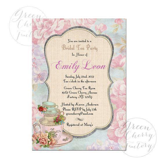 little girls' invitation Vintage Bridal Shower High Tea Invitation  by GreenCherryFactory, $18.00