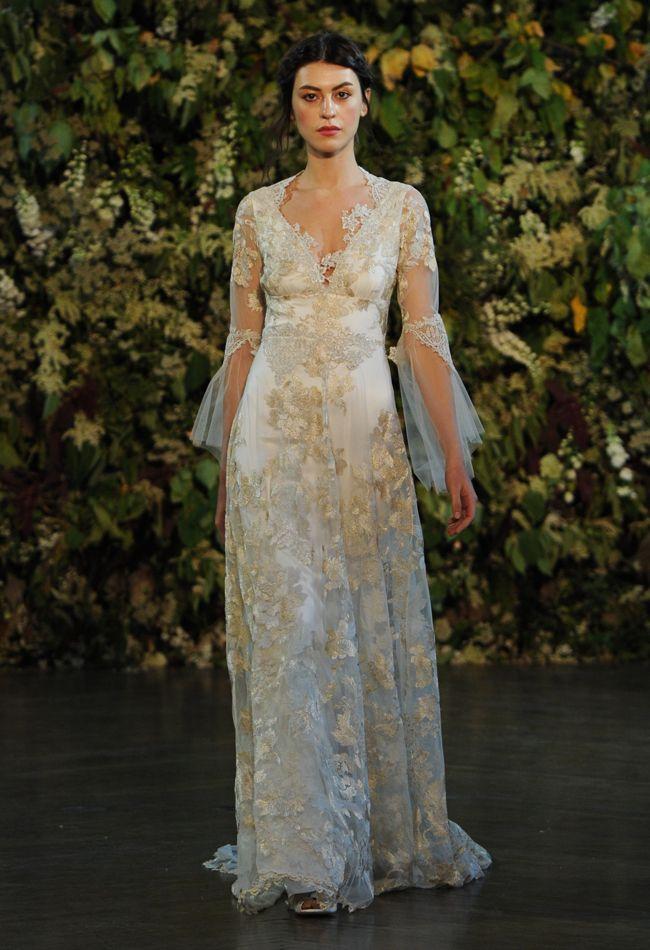 Gold Embroidered A-Line Wedding Dress   Claire Pettibone Wedding Dresses Fall 2015   Kurt Wilberding   blog.theknot.com