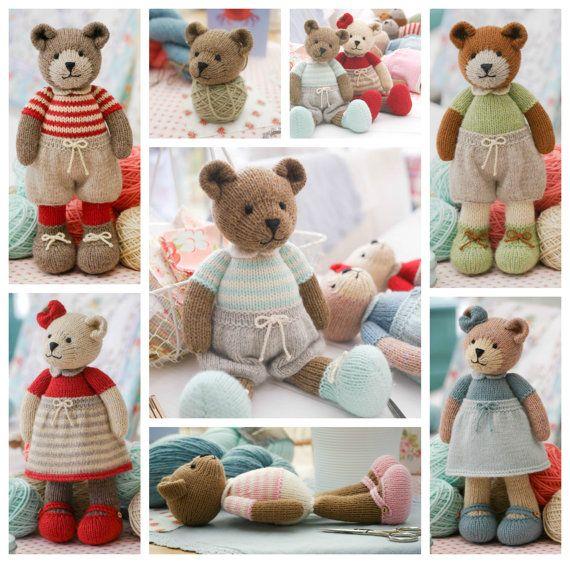 New! Teddy Bear Knitting Pattern/ Girl Bears/ Boy Bears/ 6 variations/ Toy Knitting Pattern PDF INSTANT download/ Knitted Bears