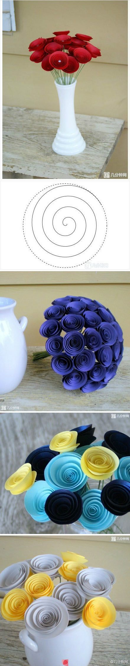 "paper flowers; these are pretty ""and easy"""