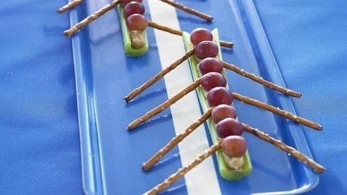 Olympic Snacking - Grape, cream cheese, celery & pretzel sticks put to creative use - Great British Chefs--week 15!