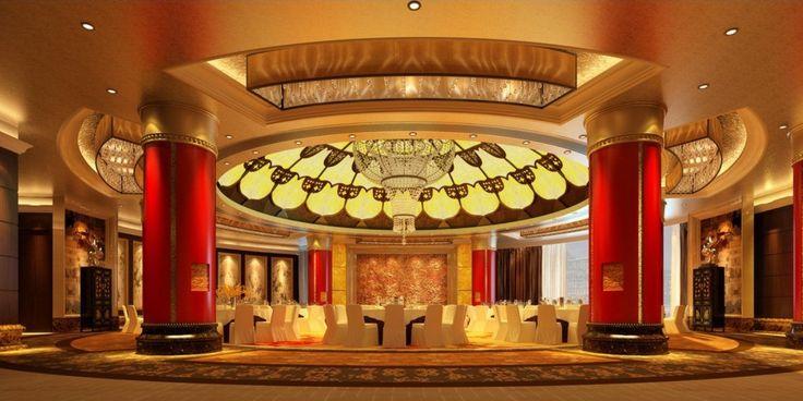 Hotel banquet hall lighting design Render night
