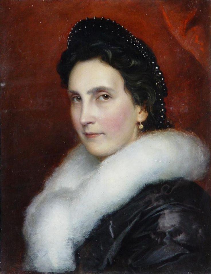 Josef Neugebauer (1810-1895)  —   Portrait of Women   with White Fur Collar, 1850  (820x1062)