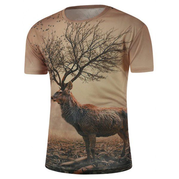$13.52 Round Neck 3D Abstract Deer Print Short Sleeve T-Shirt