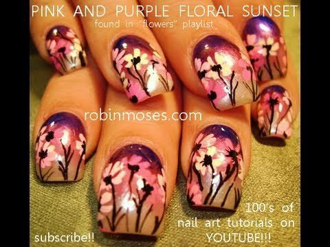 Robin Moses' Pink daisies on a lavender gradient sunset design tutorial.