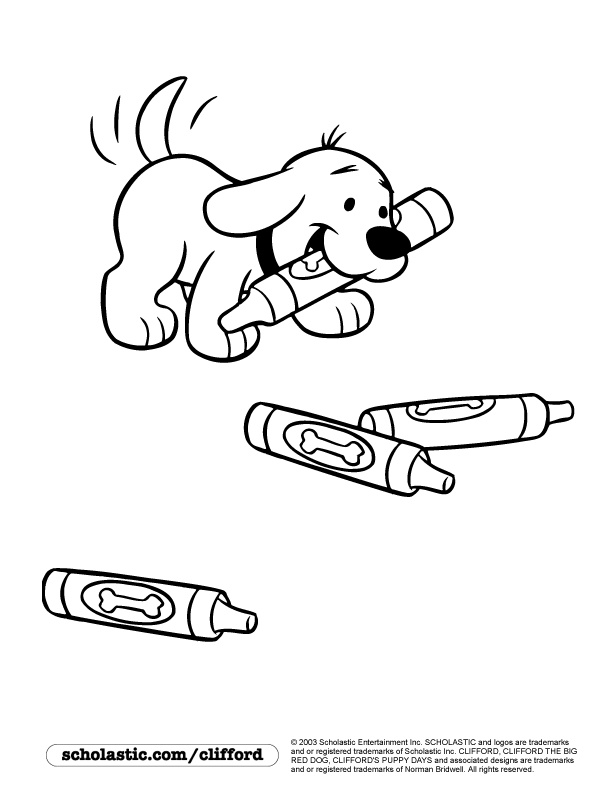 puppy clifford loves crayons