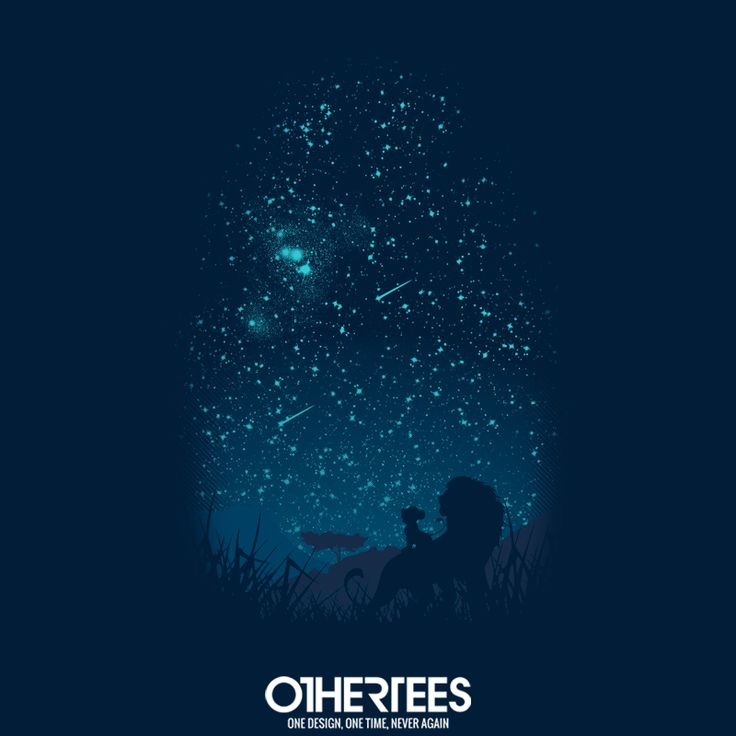 """""""Under The Stars"""" by filiskun T-shirts, Tank Tops, Sweatshirts and Hoodies are on sale until 31st December at www.OtherTees.com Pin it for a chance at a FREE TEE #LionKing #Disney #Simba #OtherTEES"""