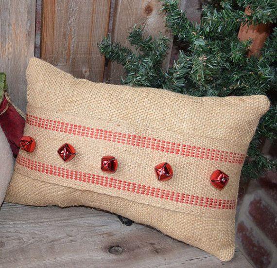 Christmas Pillow Burlap Bells Rustic Home Decor  [ SpecialtyDoors.com ] #rustic #hardware #specialty