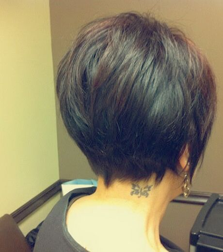 Short stacked haircut back view