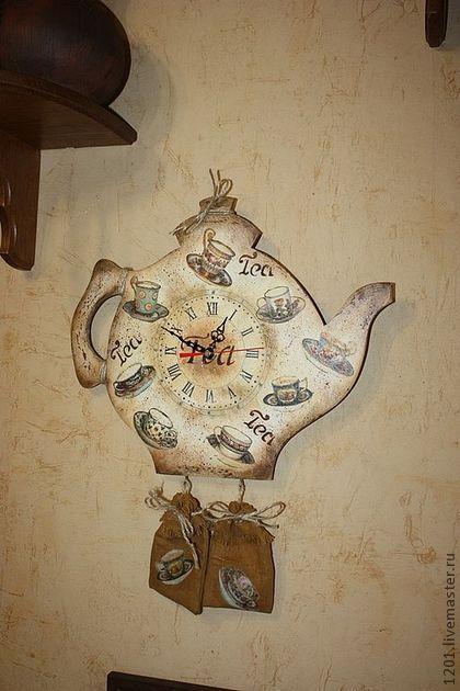 """Часы для дома ручной работы. Ярмарка Мастеров - ручная работа Часы """"Любителям чая"""". Handmade."""