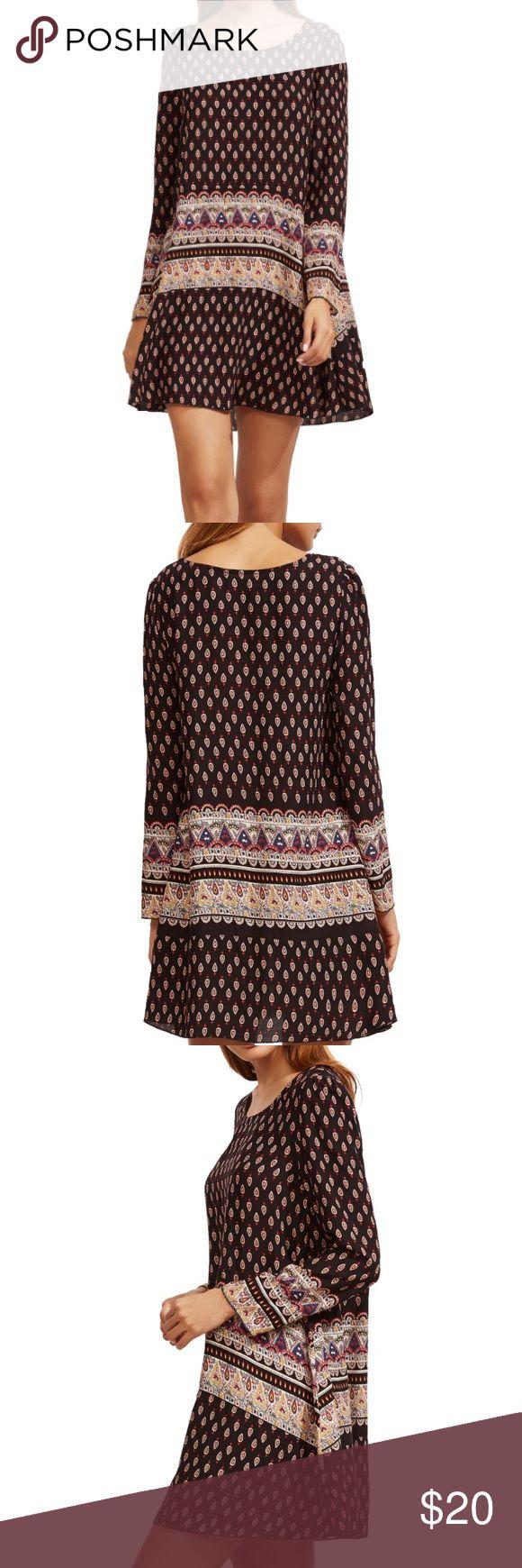 Black tribal print shift dress Long sleeve black tribal print shift dress size: S Dresses Long Sleeve