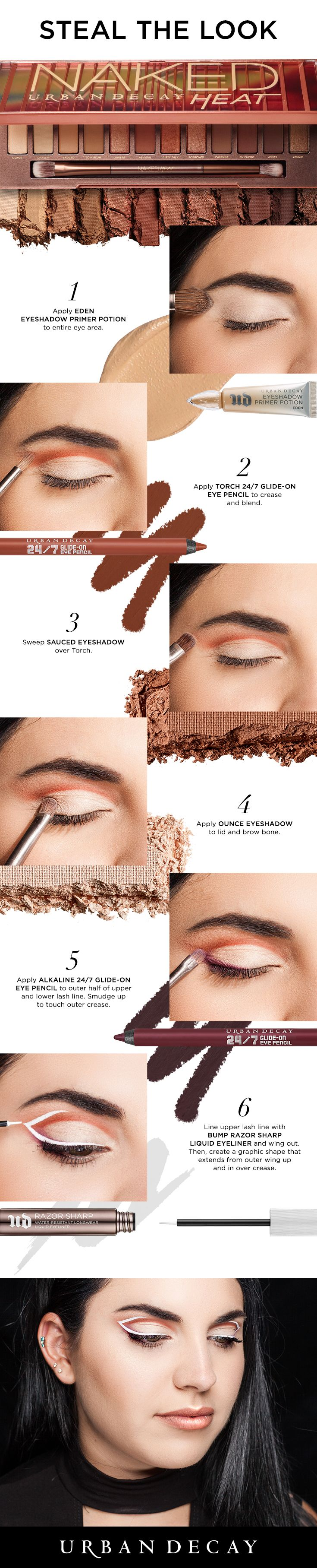 Turn up the heat with this graphic eye look using the new Urban Decay Naked Heat Palette!