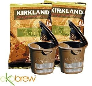Ekobrew Reuseable K-cup Filter Includes 2 Ekobrews and 2- 1.75-oz Packages of Kirkland Signature Coffee. Just bought these :)