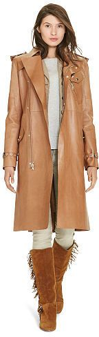 Polo Ralph Lauren Bonded Leather Military Trench