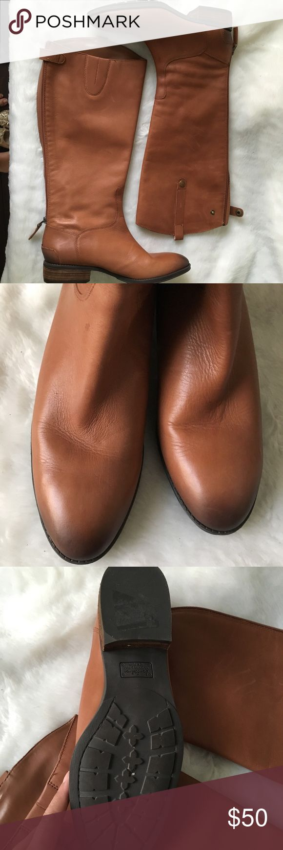 Sam Edelman Penny Tall Tan leather boot 10 Does not include the original box.  Tall leather boot.  Back zipper entry.  This is not a wide calf fit. Light scratches that can happen with leather., easy to polish out. NO TRADES Sam Edelman Shoes