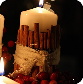 Rubberband cinnamon sticks, tie burlap or dropcloth around rubberband, nestle in cranberries.
