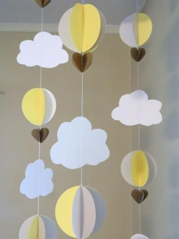 3D Paper Garland/Baby Shower Decor/Crib Mobile/Yellow and Gray Decor/ Clouds with Balloons/Hot Air Balloons/ Nursery Mobile/ Photo Prop by anyoccasionbanners for $19.75