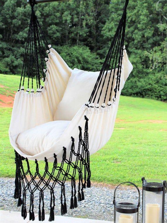 Macrame Hammock Swing Chair Hanging Chair Hammock Swing Etsy In 2020 Hammock Swing Chair Outdoor Hammock Chair Swinging Chair
