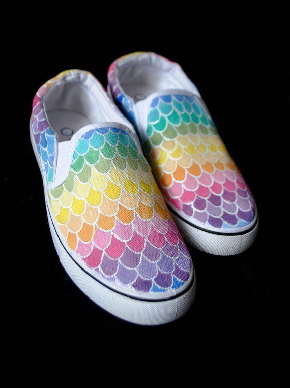 Little Mermaid Custom Painted Shoes Ariel Disney hand painted shoes VANS CONVERSE TOMS keds Little Mermaid shoes