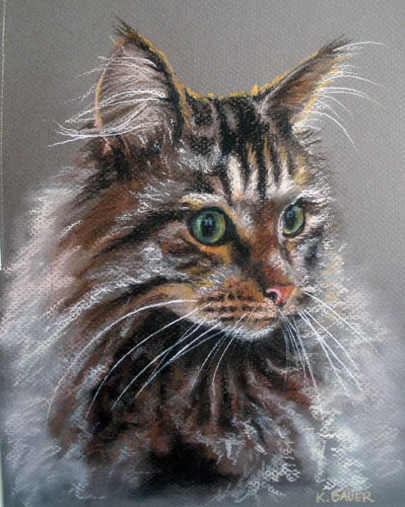 "Custom Cat Portraits Pastel Painting 9x12"" Perfect Christmas Gift for Pet Lovers. POSSIBLY AVAILABLE BY CHRISTMAS."