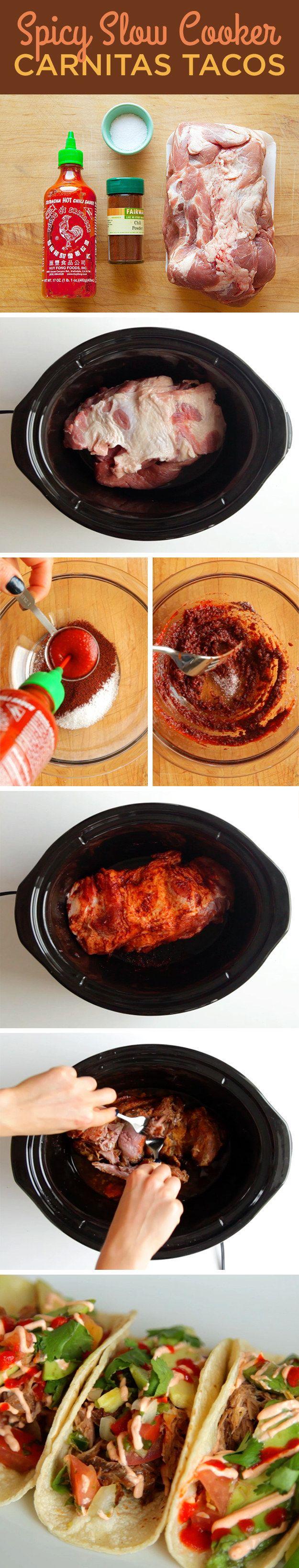 Spicy Slow Cooker Carnitas Tacos