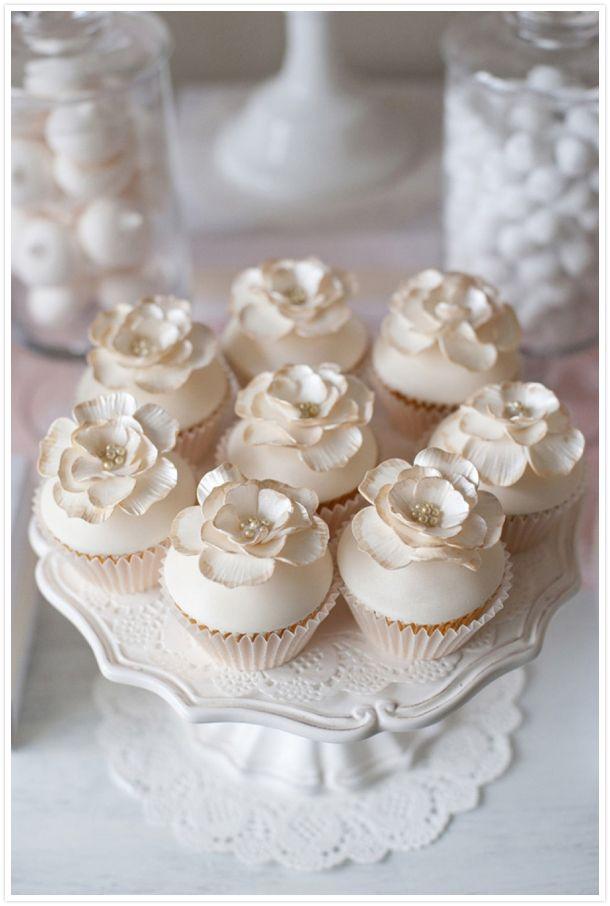 Pink & Cream Dessert Table Cupcakes