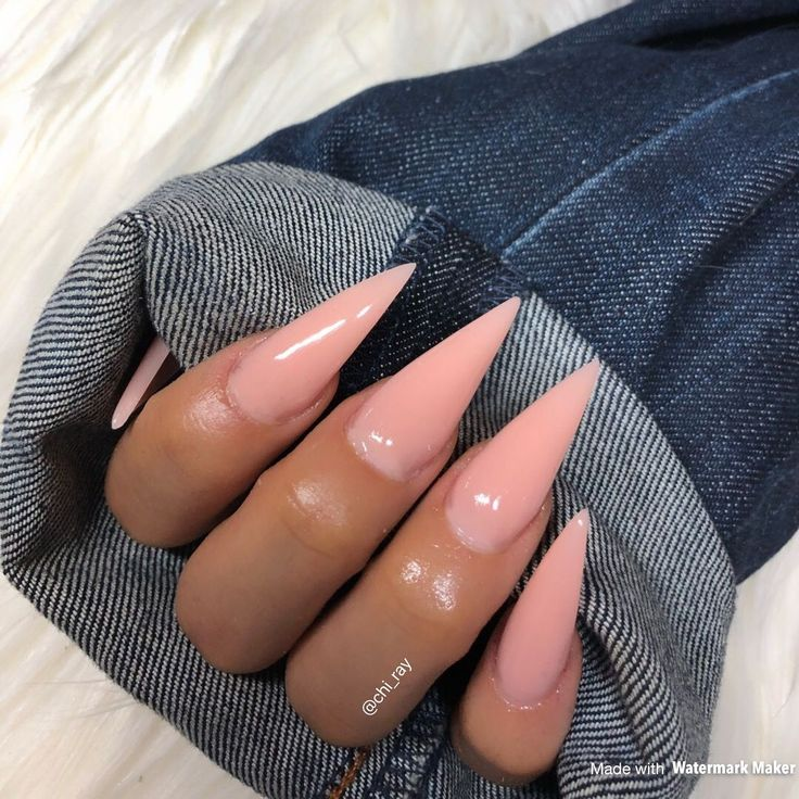 Perfect Nude Stiletto Nails Pointy Nails Sculpted Nails Long Nails Glam Denim Jackets #paintobsessed